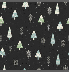 cute christmas trees and winter landscape seamless vector image