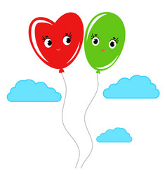 cute smiling isolated colored balloons on a white vector image