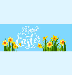 Easter blossom banner with daffodils vector