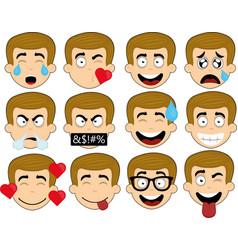 emoticons expressions man vector image
