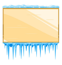 empty wooden board with icicles vector image