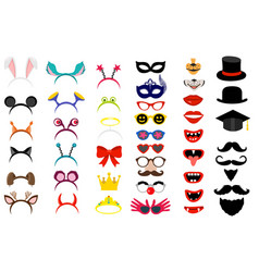 Face masks photo booth party elements vector