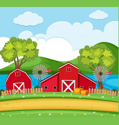 Farm scene with red barns and wind turbines vector