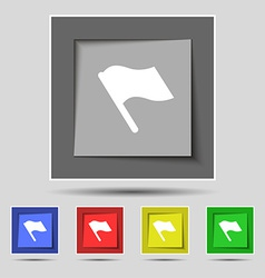 Finish start flag icon sign on the original five vector