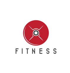 Fitness weight disc of barbell design template vector