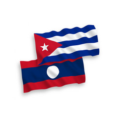 Flags cuba and laos on a white background vector