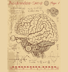 Frankentsein diary with mechanical human brain vector