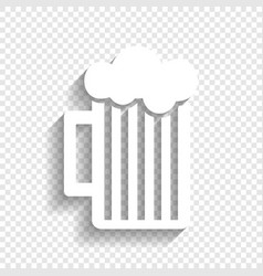 Glass of beer sign white icon with soft vector