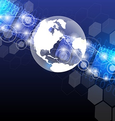 Global technology abstract background design vector