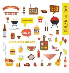 Grill Or Barbecue big Icon set with food and vector