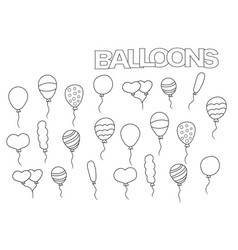 hand drawn balloons set coloring book page vector image