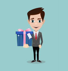 handsome young man smiling and giving a gift box vector image