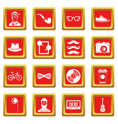 Hipster icons set red vector