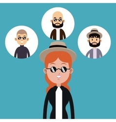 Hipster woman hat sunglasses-faces man icons vector