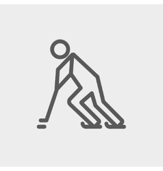 Hockey player pushing the puck thin line icon vector