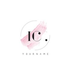 Ic watercolor letter logo design with circular vector