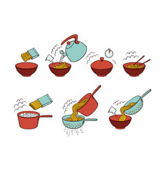 Instant noodle and pasta cooking instructions vector