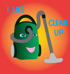 Joyful vacuum cleaner likes cleaning vector