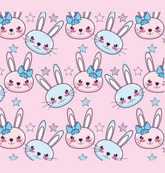 kawaii rabbits background vector image