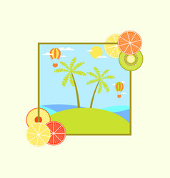 Landscape with an island and palm trees hot air vector