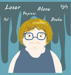 Lonely negative thinking man cartoon vector