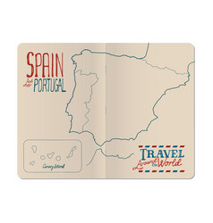Map of spain and portugal drawn by hand in an vector