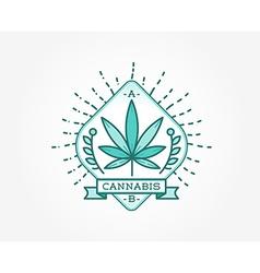 Medical cannabis marijuana sign or label template vector