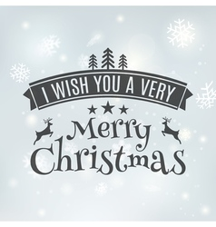 Merry Christmas text label on a winter background vector image
