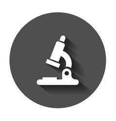 Microscope lab icon with long shadow business vector