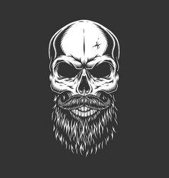 Monochrome skull with beard and mustache vector