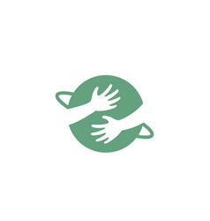 my planet hands embracing symbol logo vector image
