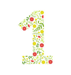 number 1 green floral number made leaves and vector image