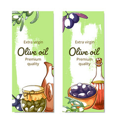 olive oil hand drawn banner set vector image