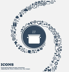 pan cooking icon in the center Around the many vector image