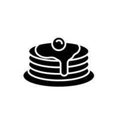 Pancake stack black icon on white background vector