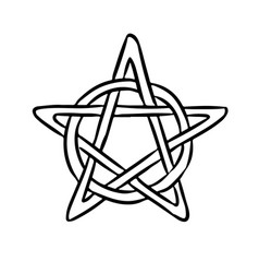 Pentacle occult sign in a circle pentagram hand vector