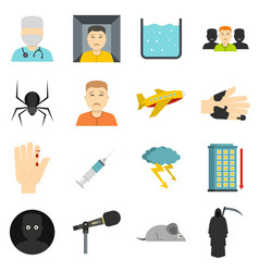 Phobia symbols icons set in flat style vector