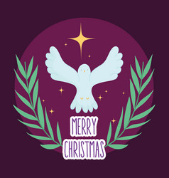 Pigeon gold star manger nativity merry christmas vector