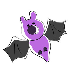 purple bat on white background vector image