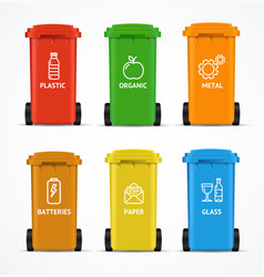 Realistic 3d detailed color recycled bin vector