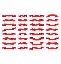 red ribbon flat banner stripe tape retro flag set vector image
