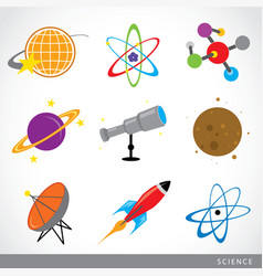 science stuff icon universe solar planet rocket vector image