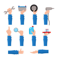 Set of auto service maintenance icons with hand vector