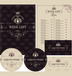 set of design elements for liquor store with crown vector image