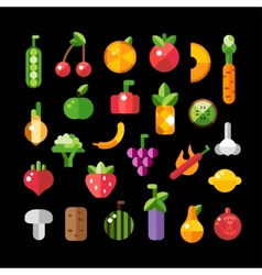 Set of flat design fruits and vegetables icons vector image