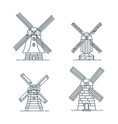 set of traditional rural windmill in linear style vector image
