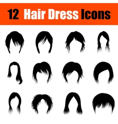 Set of womans hairstyles icons vector