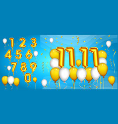 set realistic number balloons or golden number vector image