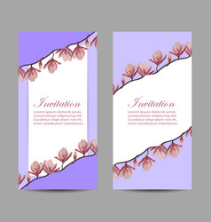 set vertical banners with beautiful flowers vector image