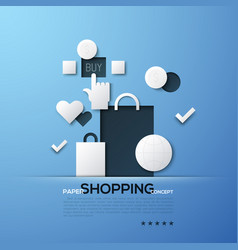 shopping paper concept white silhouettes of bags vector image